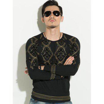 Geometric Gold Stamping Slim Fit Round Neck Long Sleeves Tee For Men - BLACK 2XL