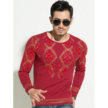 Geometric Gold Stamping Slim Fit Round Neck Long Sleeves Tee For Men