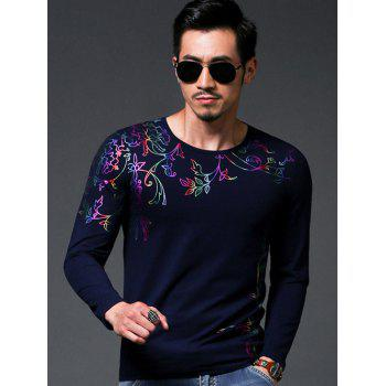 Chic Flower Stamping Slim Fit Round Neck Long Sleeves Tee For Men