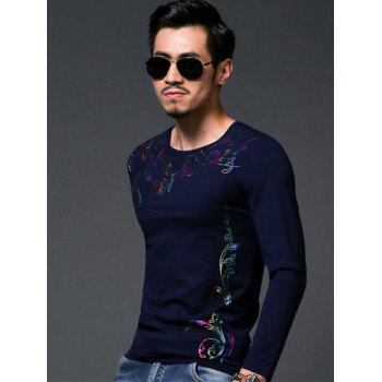 Chic Flower Stamping Slim Fit Round Neck Long Sleeves Tee For Men - DEEP BLUE L