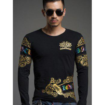 Trendy Round Neck Gold Stamping Slim Fit Long Sleeve Tee For Men