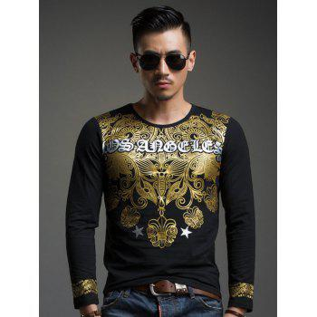 Gold Stamping V-Neck Slim Fit Long Sleeve T-Shirt For Men