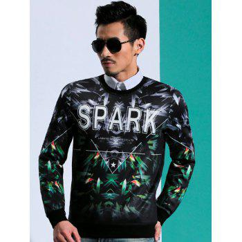 Chic 3D Print Round Neck Long Sleeves Ribbed Cuffs Sweatshirt For Men - BLACK M