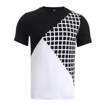 BoyNewYork Color Block Plaid Spliced Short Sleeve T-Shirt
