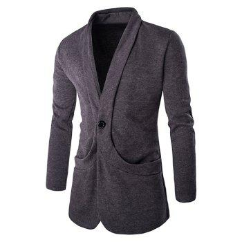 Buy Chic Collar Design Single Button Openning Long Sleeves Knitted Blazer Men GRAY