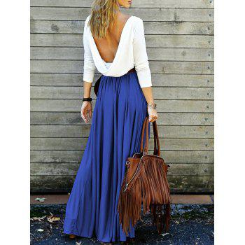Long Sleeve Draped Open Back Maxi Dress