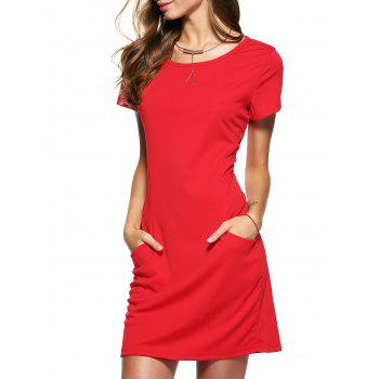 Pocket Design Solid Color Short Sleeve Dress