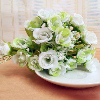 High Quality A Bouquet of Wedding Party Living Room Decor Artificial Rose - WHITE WHITE