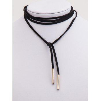 Adjustable Bar Layered Wrap Necklace - BLACK