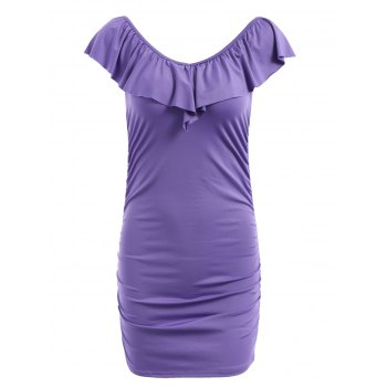 Fresh Style Solid Color Flounce V-Neck Bodycon Dress For Women