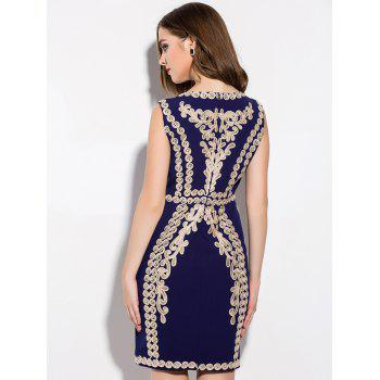 Vintage Embroidered Slimming Sheath Dress - PURPLISH BLUE XL