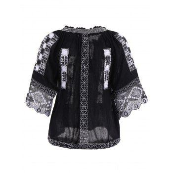 Stylish Scoop Neck Ethnic Embroidery 3/4 Sleeve Women's Blouse - BLACK M