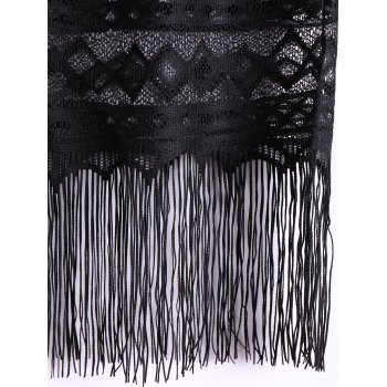 Lace Fringed High Waist Skirt For Women - BLACK BLACK