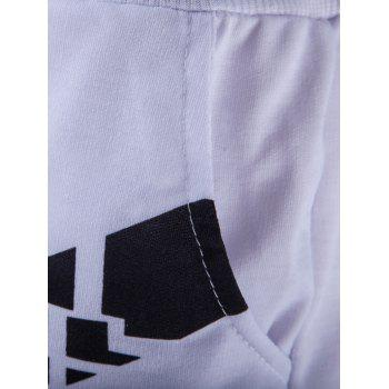 Men's Abstract Printed Solid Color Lace-Up Shorts - WHITE L
