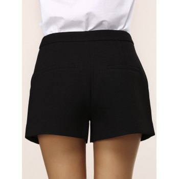 Chic Pocket Design Note Embroidery Women's Shorts - BLACK XL