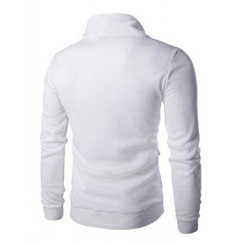Solid Color Button Up Patch Pockets Men's Long Sleeve Jacket - WHITE M