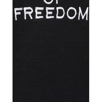 Plus Size Chic Letter Embroidered T-Shirt - BLACK XL