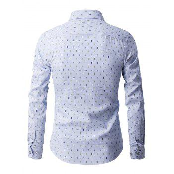 Geometric Print Turn Down Collar Long Sleeve Men's Shirt - LIGHT BLUE 2XL