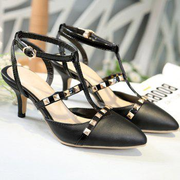 Fashionable Splicing and Metal Rivets Design Women's Pumps - BLACK 42