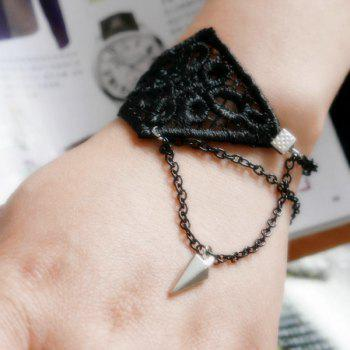 Charming Woven Floral Rivet Bracelet For Women - BLACK