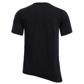 BoyNewYork Asymmetric Hem Short Sleeves T-Shirt - BLACK S