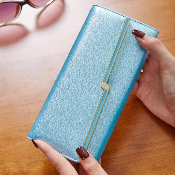 Fashionable Metal and Solid Colour Design Women's Wallet - LAKE BLUE