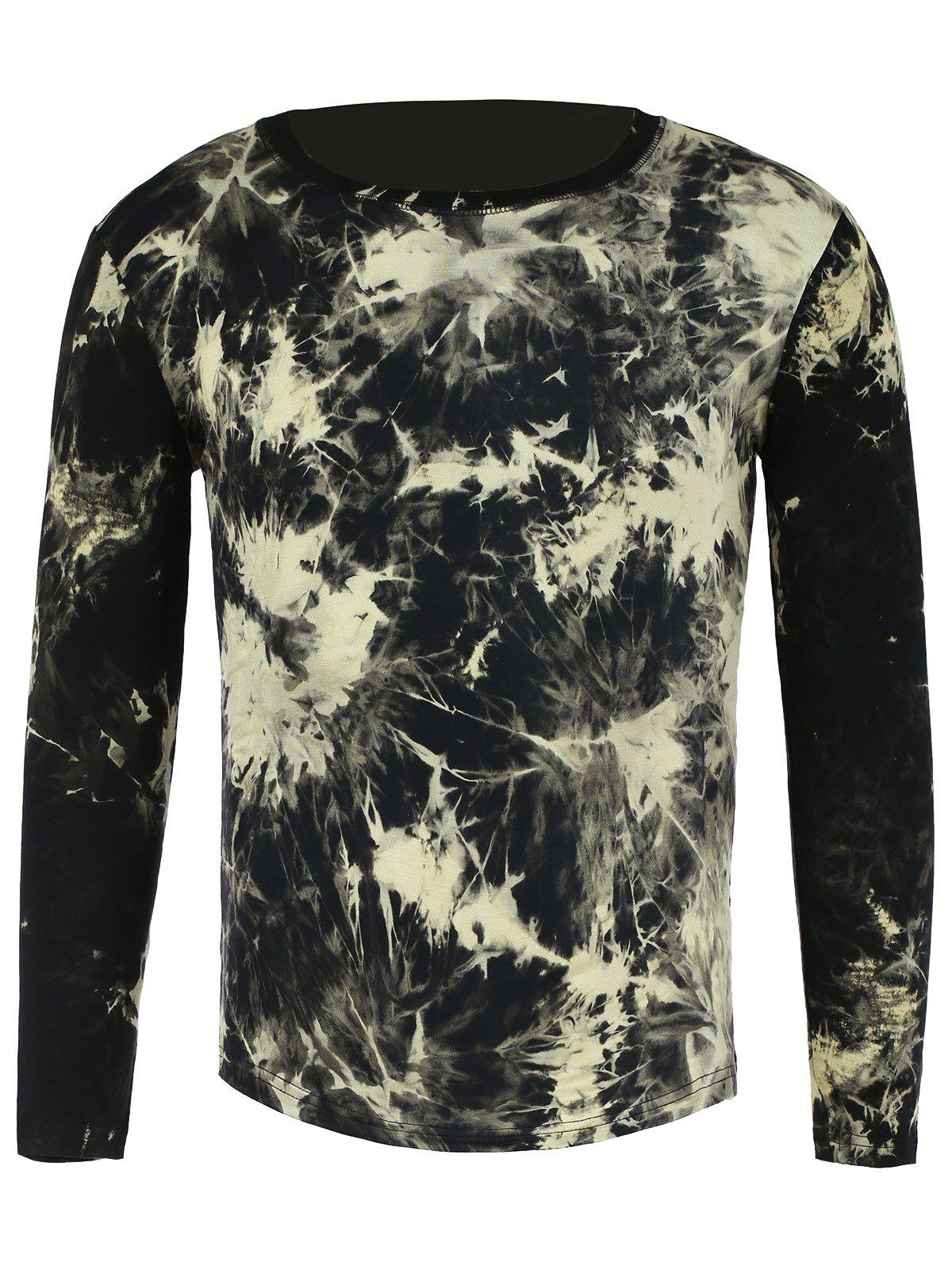 Round Neck Long Sleeve 3D Splashed Ink Print Men's T-Shirt - BLACK L