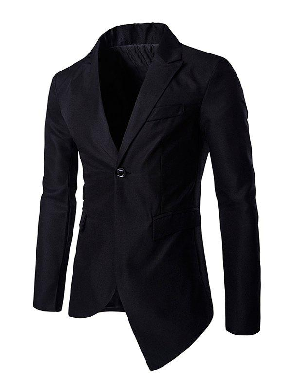 Breasted Pocket Asymmetrical Lapel Long Sleeve Men's Blazer - BLACK 2XL