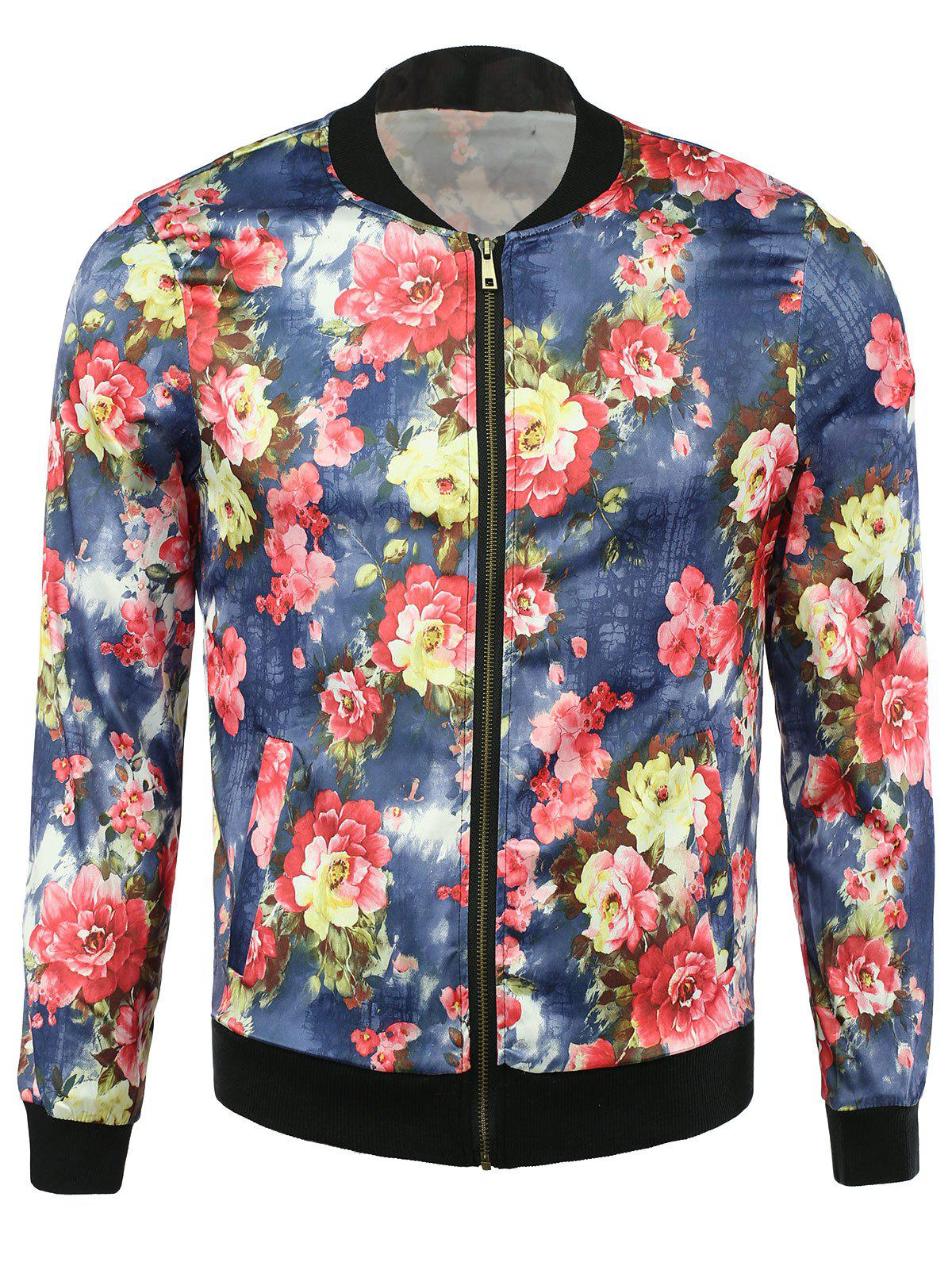 Casual Floral Print Zip Up Jacket leopard floral print zip up jacket