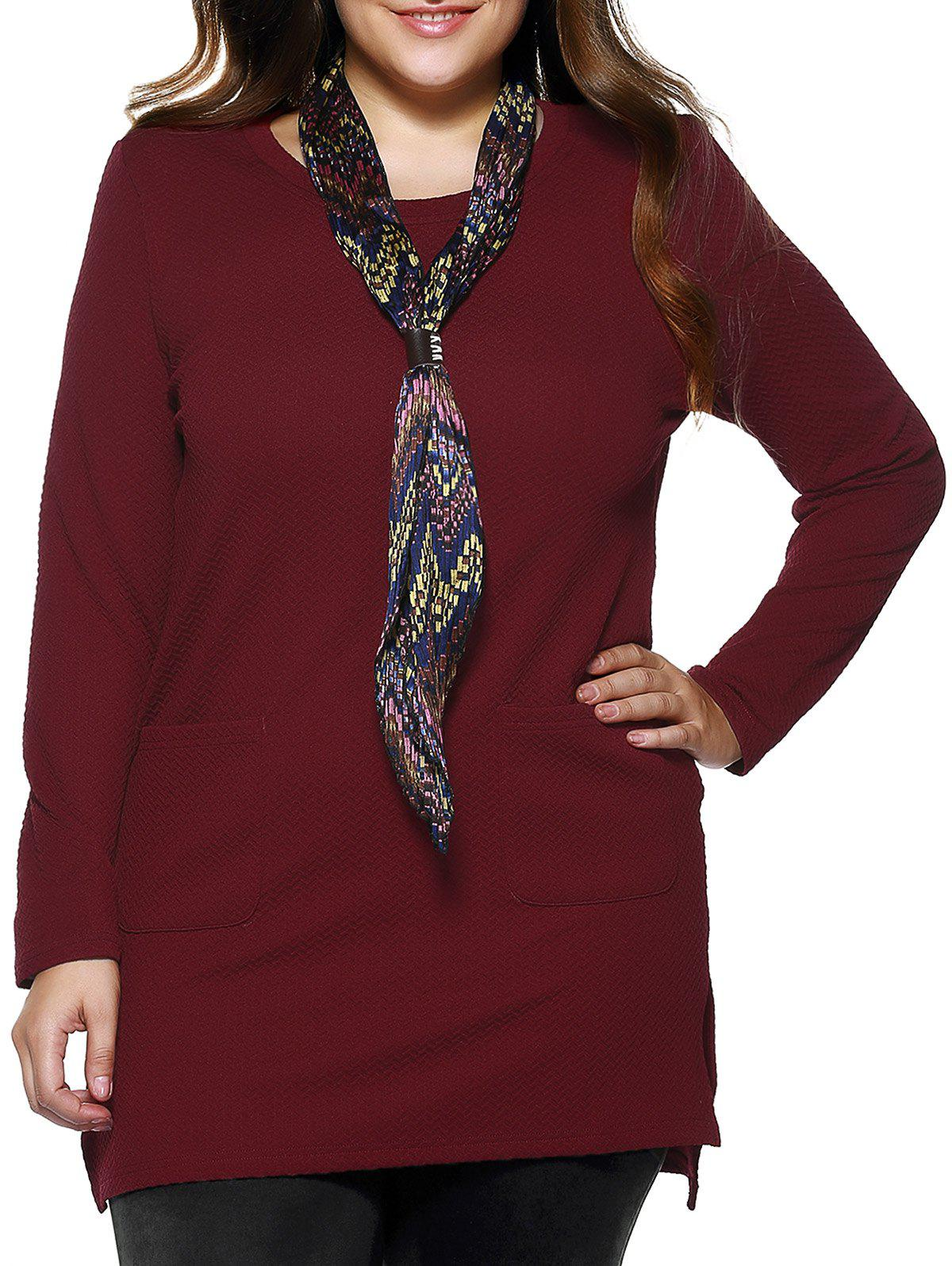 Plus Size Brief Pockets Design Long Blouse - CLARET 4XL
