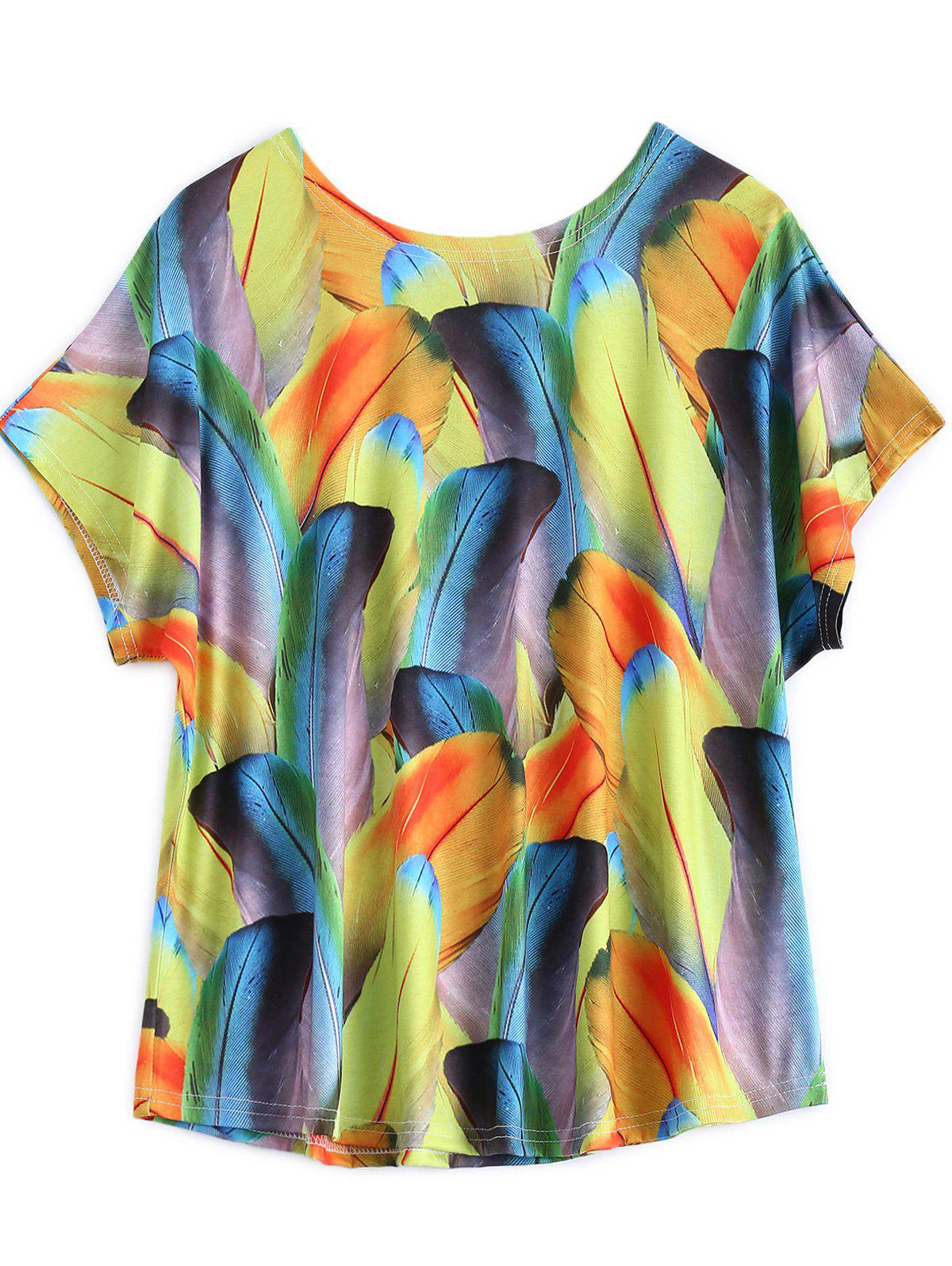Plus Size Feather Colorful Imprimer T-shirt - multicolorcolore L