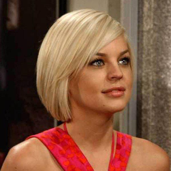 Refreshing Short Straight Side Bang Women's Human Hair Wig - BLONDE