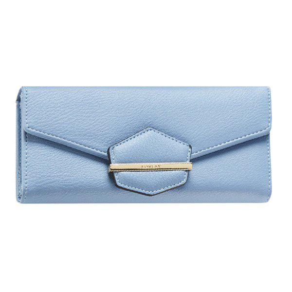 Trendy Magnetic Closure and Metal Design Women's Wallet - LIGHT BLUE