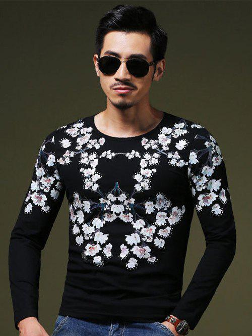 Wintersweet Print Slim Fit Round Neck Long Sleeves Tee For MenMen<br><br><br>Size: 4XL<br>Color: BLACK