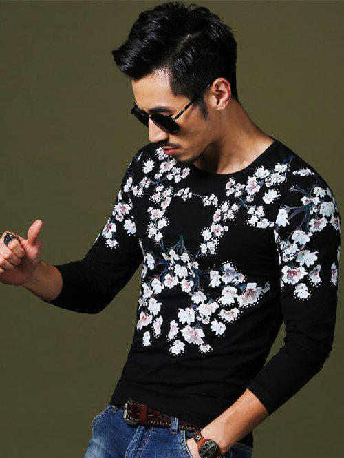 Wintersweet Print Slim Fit Round Neck Long Sleeves Tee For Men - BLACK 4XL