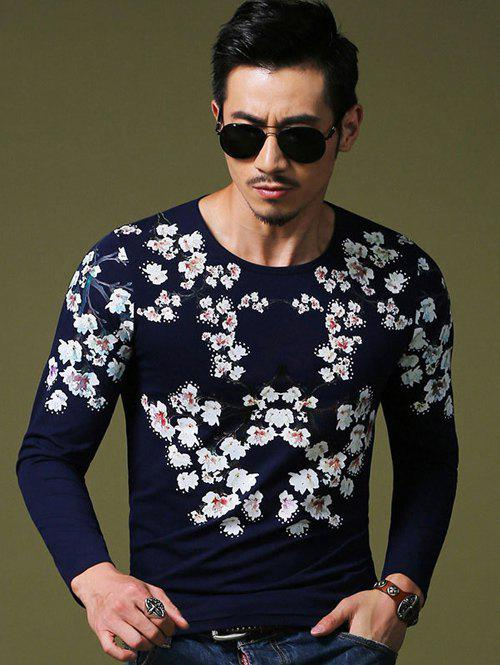 Wintersweet Print Slim Fit Round Neck Long Sleeves Tee For Men - DEEP BLUE L