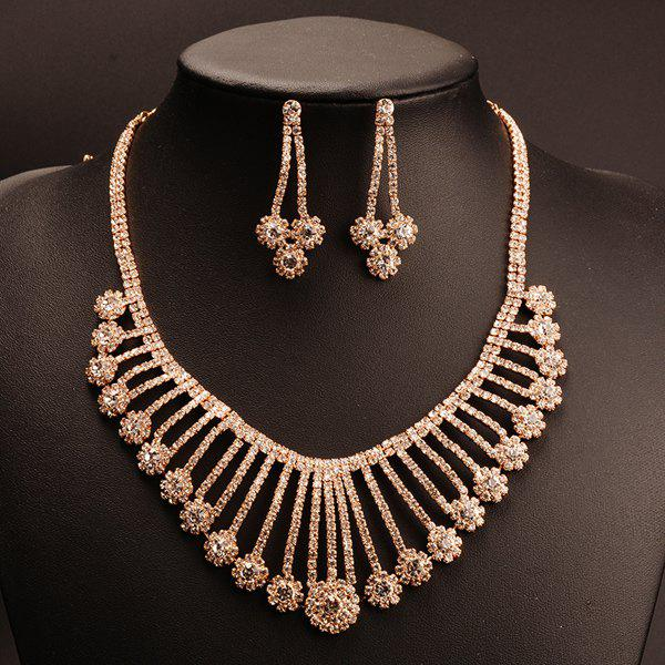 A Suit of Exaggerated Gold Plated Rhinestone Flowers Tassel Pendant Necklace and Earrings For Women