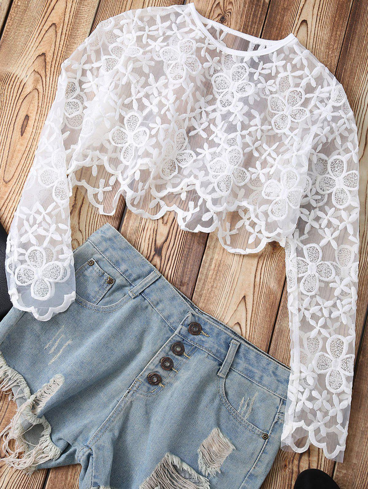 Lace See-Through Floral Crop Top - WHITE XL