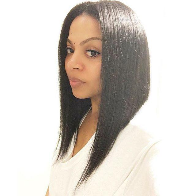 Fancy Black Synthetic Middle Part Silky Straight Medium Wig For Women