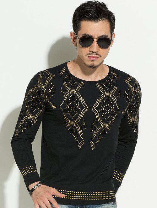 Geometric Gold Stamping Slim Fit Round Neck Long Sleeves Tee For Men - BLACK 4XL