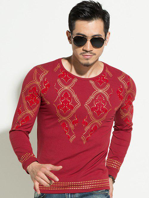 Geometric Gold Stamping Slim Fit Round Neck Long Sleeves Tee For Men - RED XL