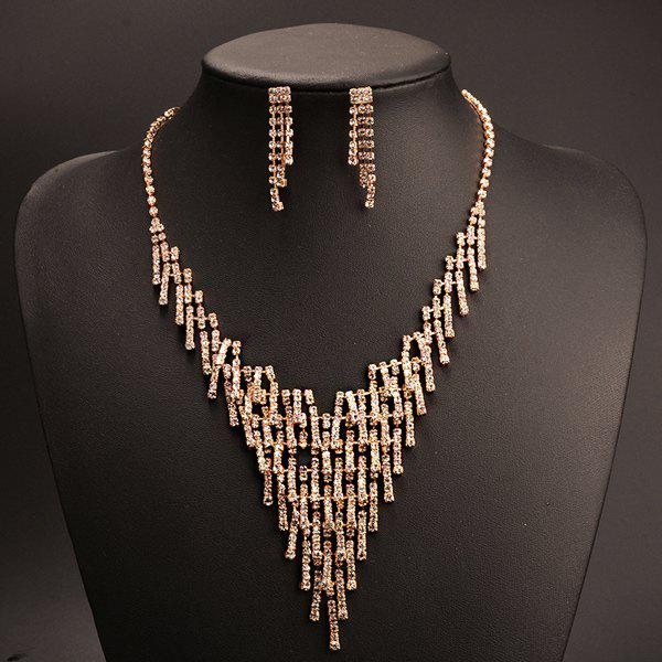 A Suit of Stylish Tiered Triangle Shape Rhinestone Tassel Necklace and Earrings For Women - CHAMPAGNE GOLD
