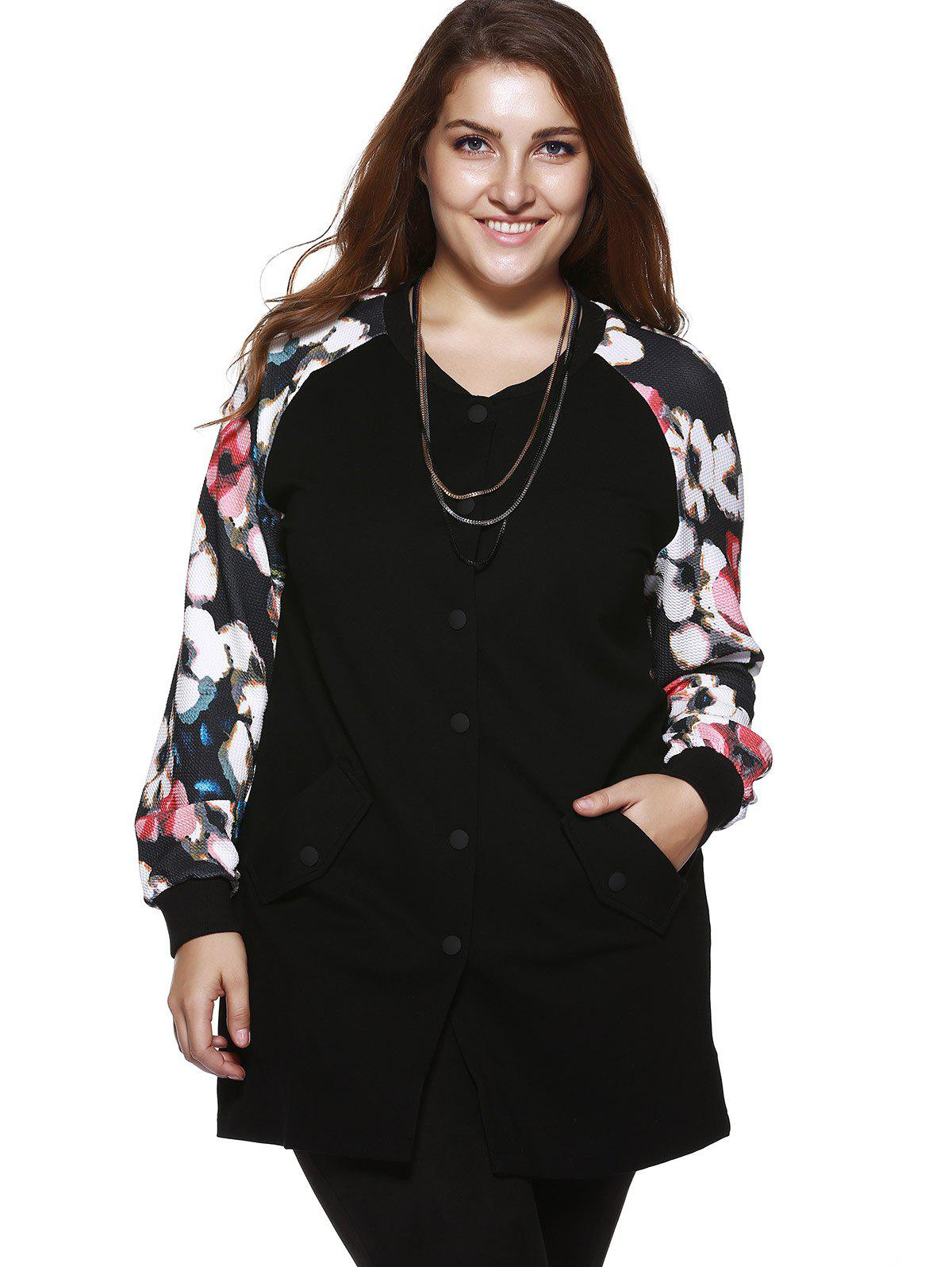 Plus Size Chic Floral Print Long Jacket - BLACK XL
