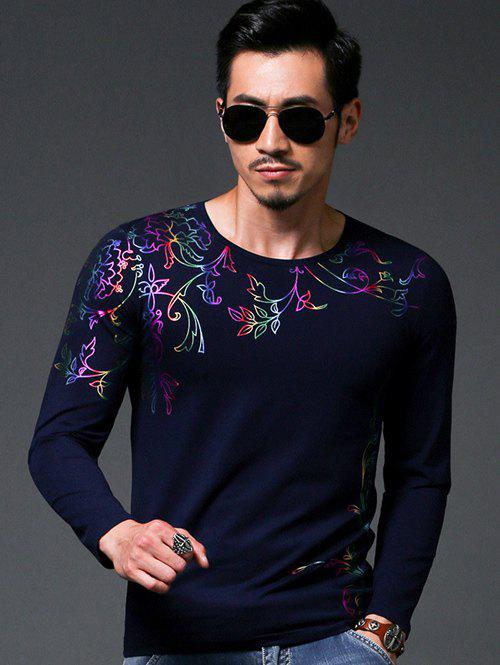 Chic Flower Stamping Slim Fit Round Neck Long Sleeves Tee For Men - DEEP BLUE XL
