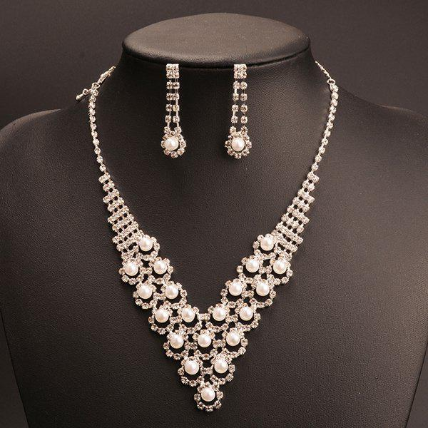 A Suit of Delicate Faux Pearl Rhinestone V-Shape Pendant Necklace and Earrings For Women -  SILVER
