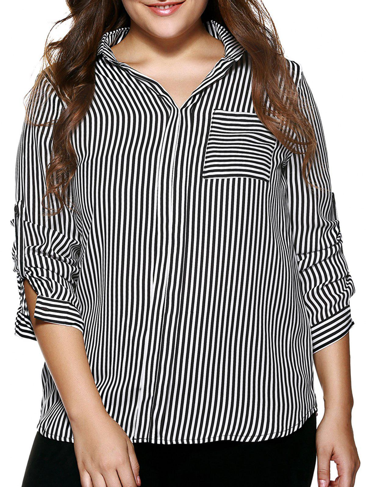 Plus Size Ladylike Adjustable Sleeve Striped Shirt - STRIPE 5XL