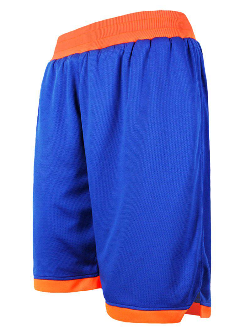 Color Block Splicing Loose-Fitting Elastic Waist Men's Basketball Shorts - BLUE 4XL