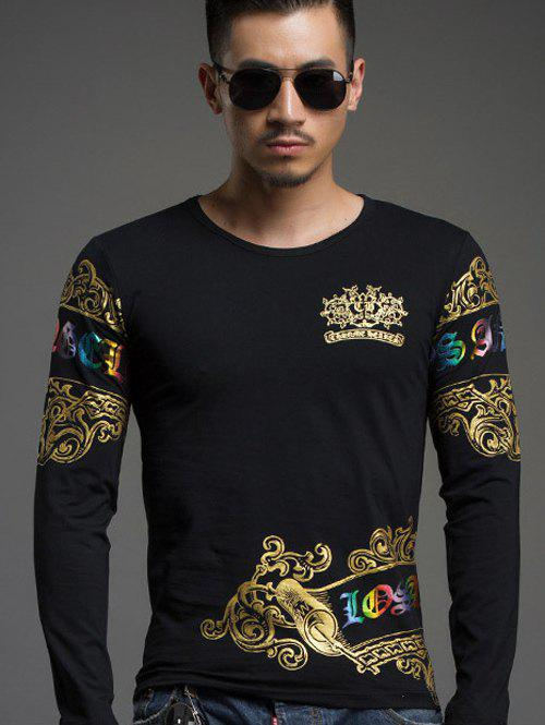 Trendy Round Neck Gold Stamping Slim Fit Long Sleeve Tee For Men - BLACK 3XL