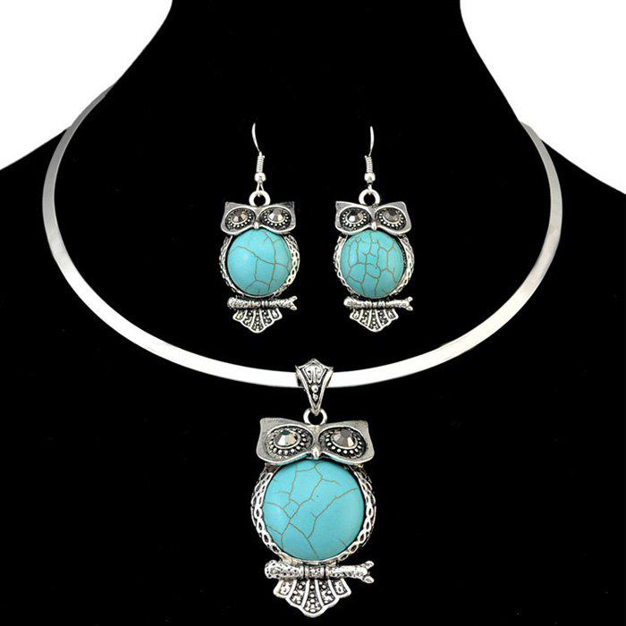A Suit of Bohemia Style Faux Turquoise Owl Torques and Earrings For Women