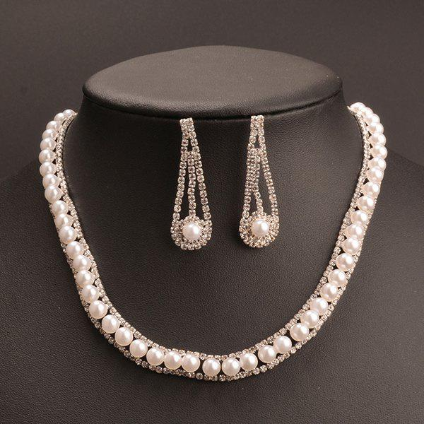 A Suit of Vintage Faux Pearl Cut Out Rhinestone Necklace and Earrings For Women - SILVER WHITE